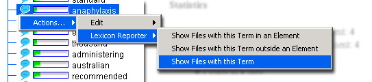Select the action 'Show Files with this Term'